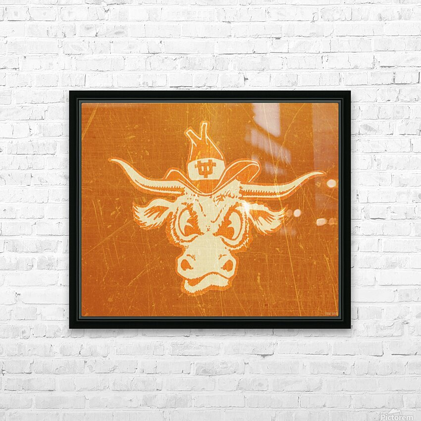 1950s Texas Longhorn Art HD Sublimation Metal print with Decorating Float Frame (BOX)