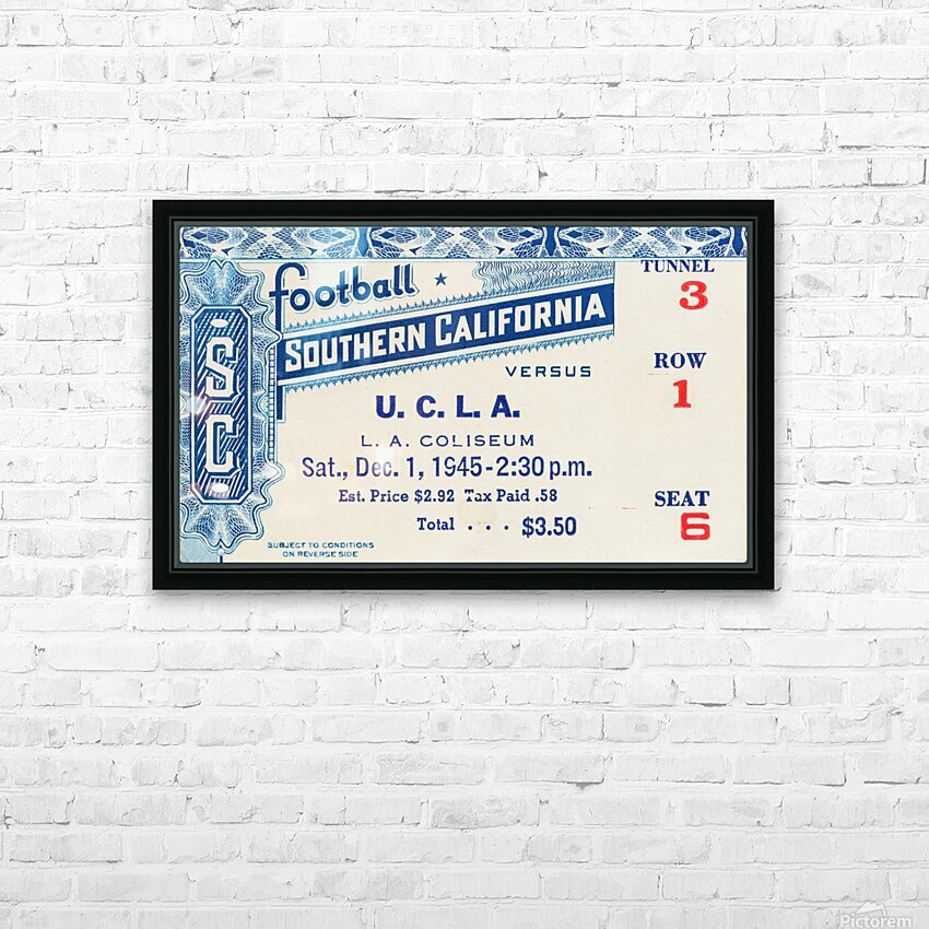 1945 USC vs. UCLA Game 2 HD Sublimation Metal print with Decorating Float Frame (BOX)