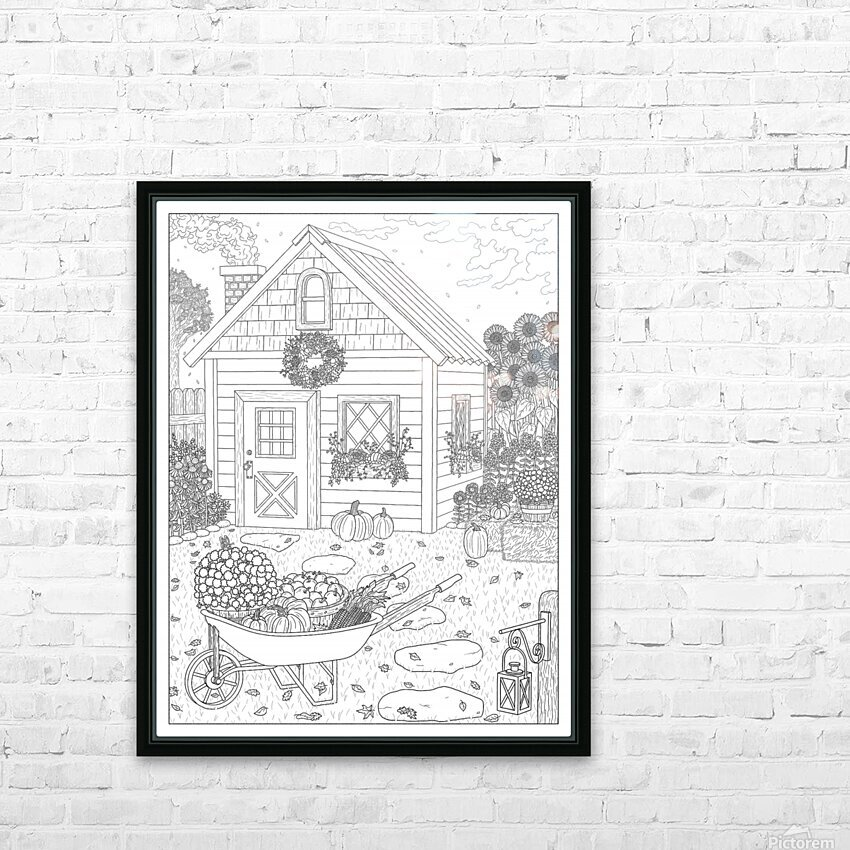 Autumn Cottage Coloring Page HD Sublimation Metal print with Decorating Float Frame (BOX)