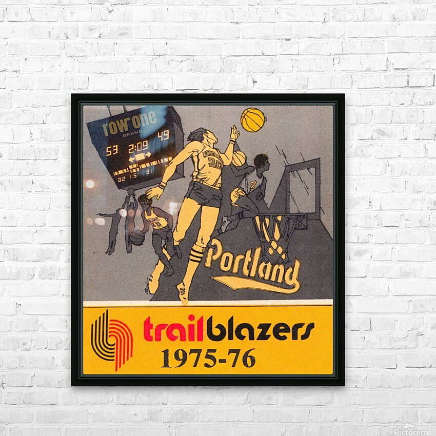 1975 Portland Trailblazers Art HD Sublimation Metal print with Decorating Float Frame (BOX)
