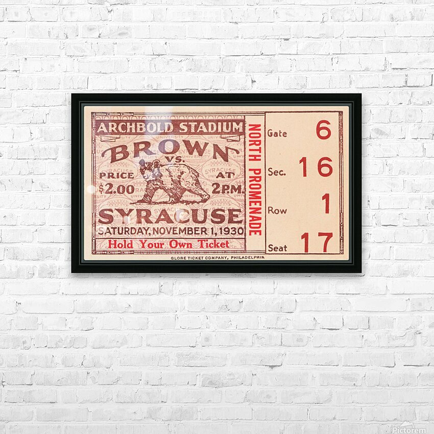 1930 Syracuse vs. Brown HD Sublimation Metal print with Decorating Float Frame (BOX)