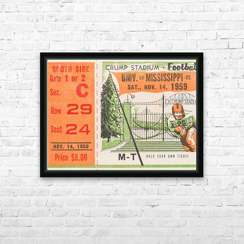 1959 Mississippi vs. Tennessee HD Sublimation Metal print with Decorating Float Frame (BOX)