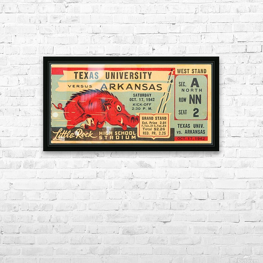 1942 Arkansas vs. Texas HD Sublimation Metal print with Decorating Float Frame (BOX)