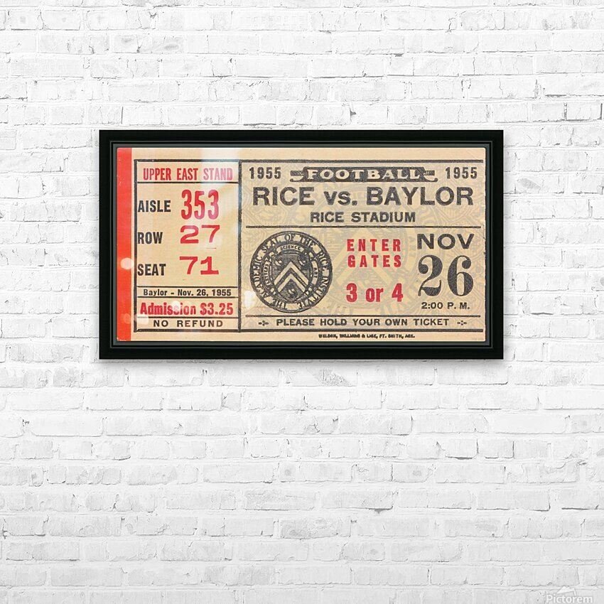 1955 Rice vs. Baylor HD Sublimation Metal print with Decorating Float Frame (BOX)