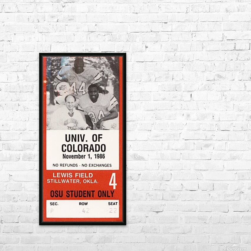 1986 Oklahoma State vs. Colorado HD Sublimation Metal print with Decorating Float Frame (BOX)