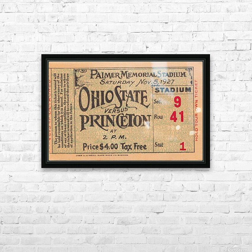 1927 Ohio State vs. Princeton  HD Sublimation Metal print with Decorating Float Frame (BOX)