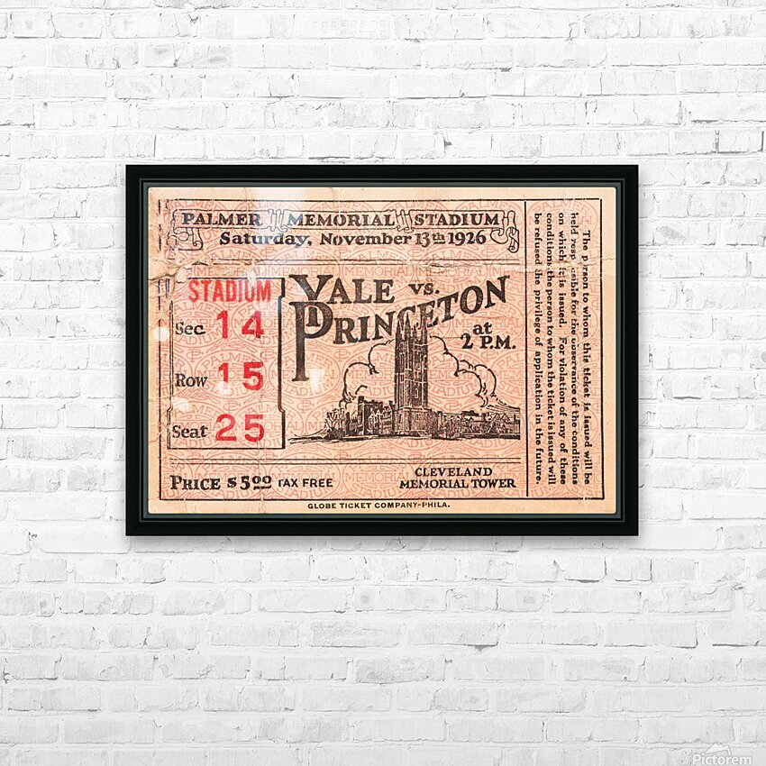 1926 Yale vs. Princeton HD Sublimation Metal print with Decorating Float Frame (BOX)