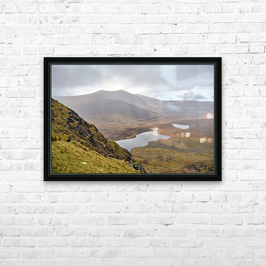 Mountain top view through Conors Pass co. kerry Ireland Europe 2018 HD Sublimation Metal print with Decorating Float Frame (BOX)