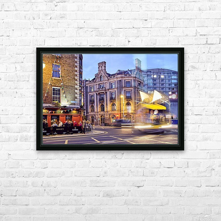 City street with people outside of pub at night Dublin Ireland HD Sublimation Metal print with Decorating Float Frame (BOX)