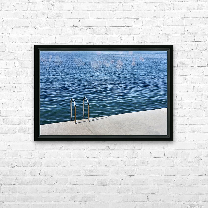 Pool ladder on the shore of the slovenian adriatic coast Piran Slovenia HD Sublimation Metal print with Decorating Float Frame (BOX)