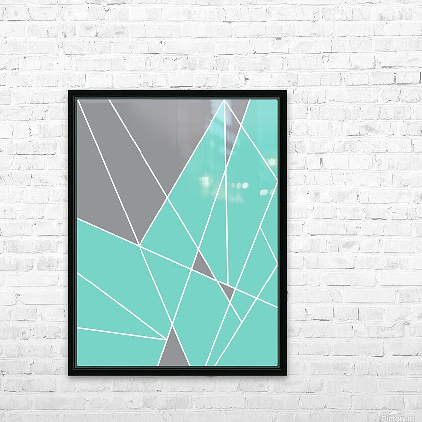 Gray Teal Triangles Geometric Art GAT101-2 HD Sublimation Metal print with Decorating Float Frame (BOX)