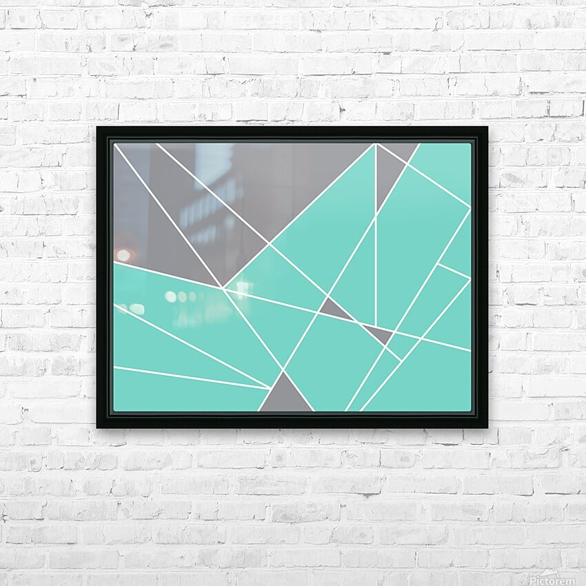 Gray Teal Triangles Geometric Art GAT101-3 HD Sublimation Metal print with Decorating Float Frame (BOX)