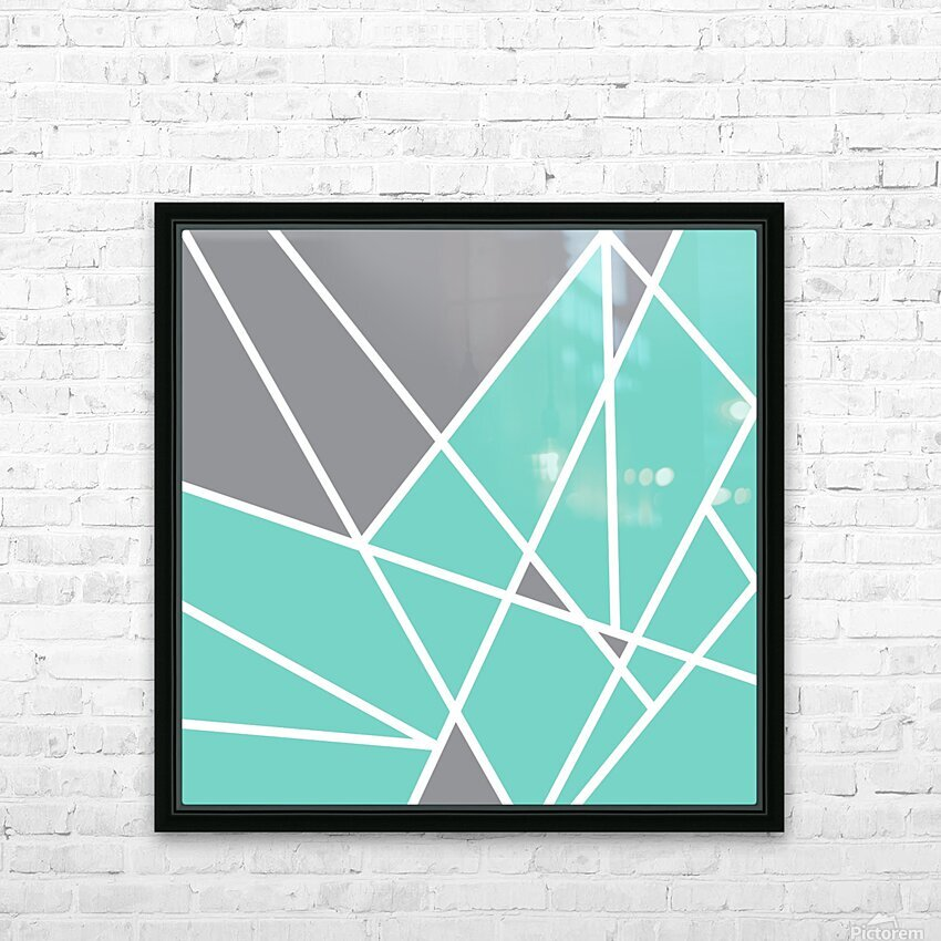 Gray Teal Triangles Geometric Art GAT101 square HD Sublimation Metal print with Decorating Float Frame (BOX)