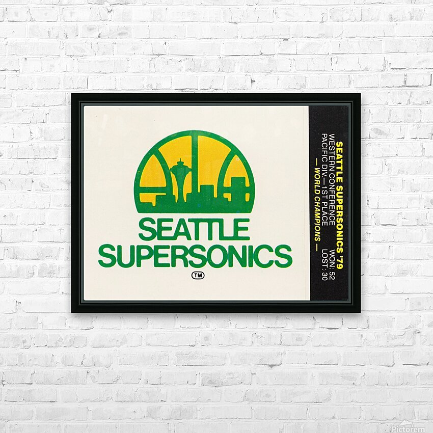1979 Seattle Supersonics Fleer Decal HD Sublimation Metal print with Decorating Float Frame (BOX)