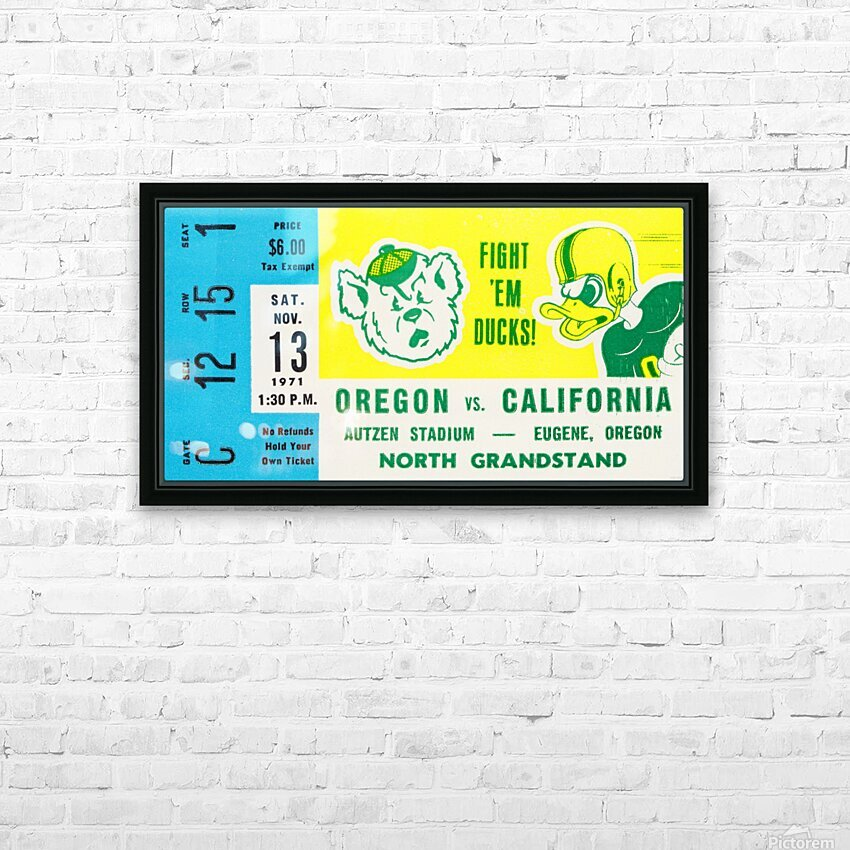 1971 California vs. Oregon HD Sublimation Metal print with Decorating Float Frame (BOX)