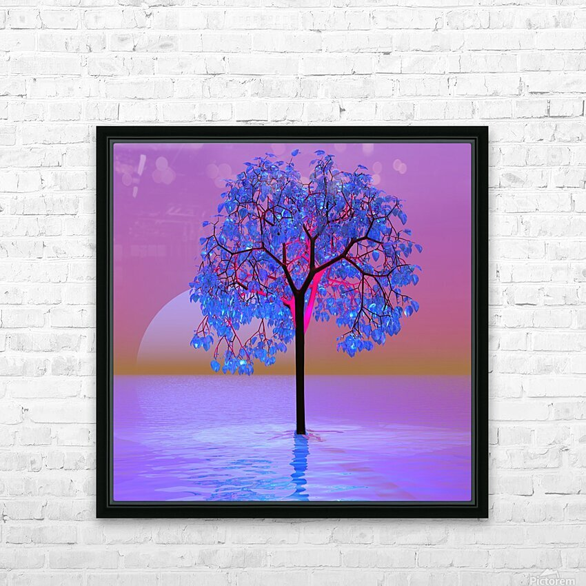 Tree Sunset HD Sublimation Metal print with Decorating Float Frame (BOX)