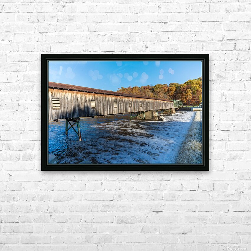 Harpersfield covered bridge and dam Ashtabula County autumn 2020 HD Sublimation Metal print with Decorating Float Frame (BOX)
