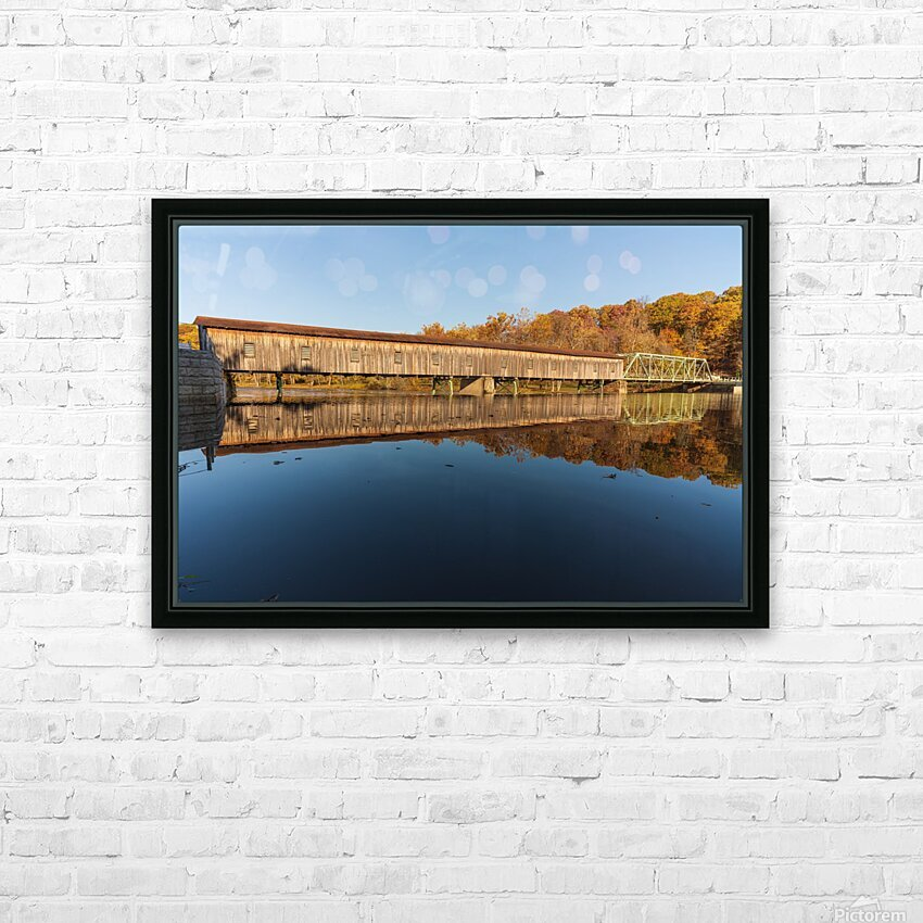 Harpersfield covered bridge and reflection Ashtabula County Ohio HD Sublimation Metal print with Decorating Float Frame (BOX)