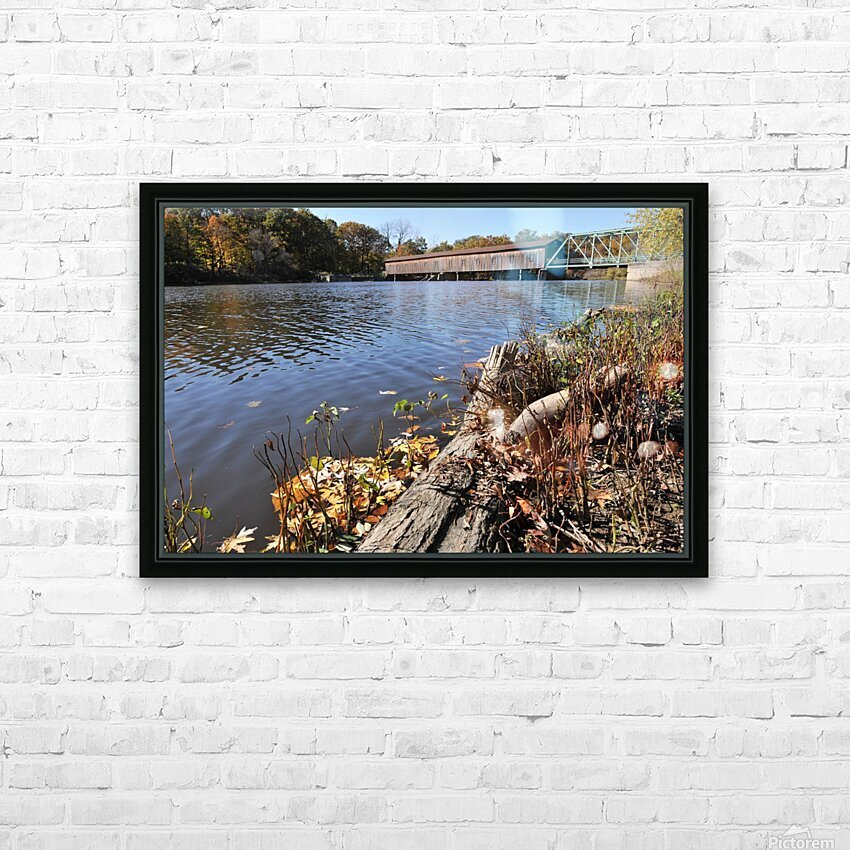 Harpersfield Ohio covered bridge in autumn from east side HD Sublimation Metal print with Decorating Float Frame (BOX)