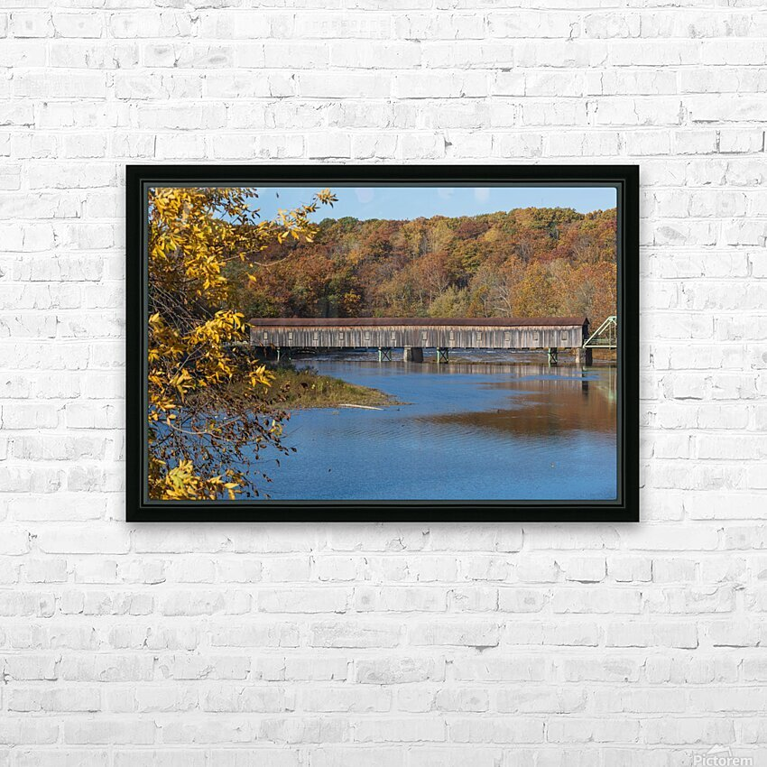 Harpersfield Ohio covered bridge in autumn HD Sublimation Metal print with Decorating Float Frame (BOX)