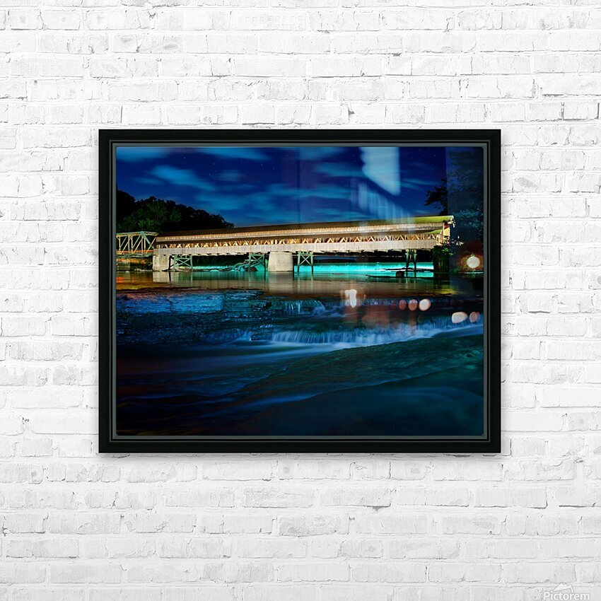 Night image of Harpersfield Covered Bridge over Grand River Ohio HD Sublimation Metal print with Decorating Float Frame (BOX)