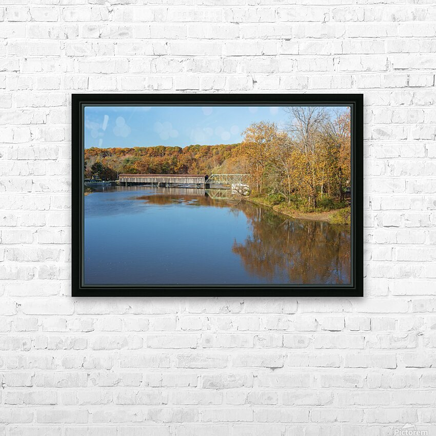 Grand River and Harpersfield covered bridge HD Sublimation Metal print with Decorating Float Frame (BOX)