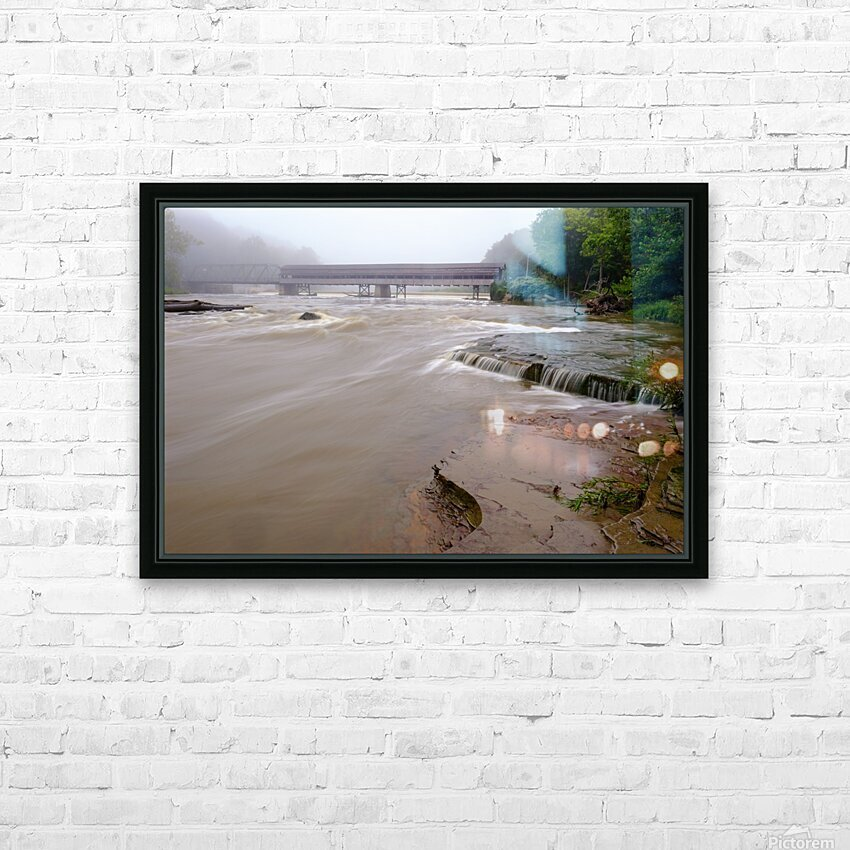 Grand River rapids at Harpersfield Covered Bridge Ohio HD Sublimation Metal print with Decorating Float Frame (BOX)