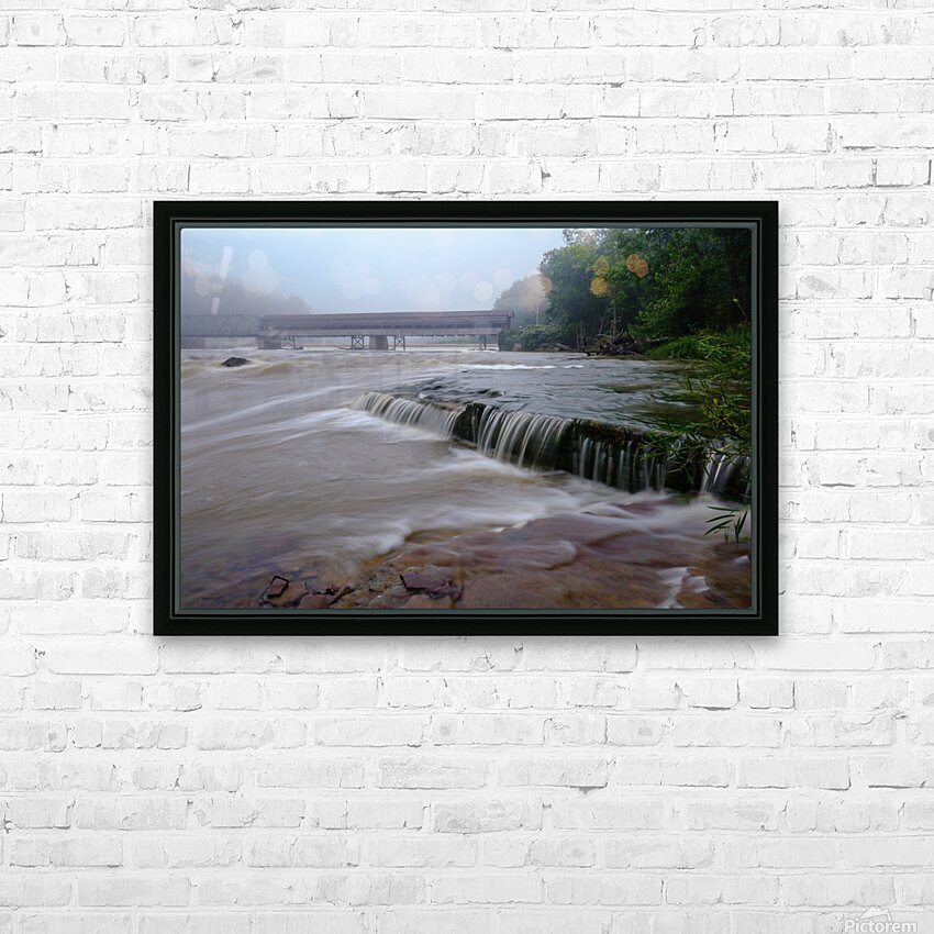 Harpersfield covered bridge and grand river rapids HD Sublimation Metal print with Decorating Float Frame (BOX)