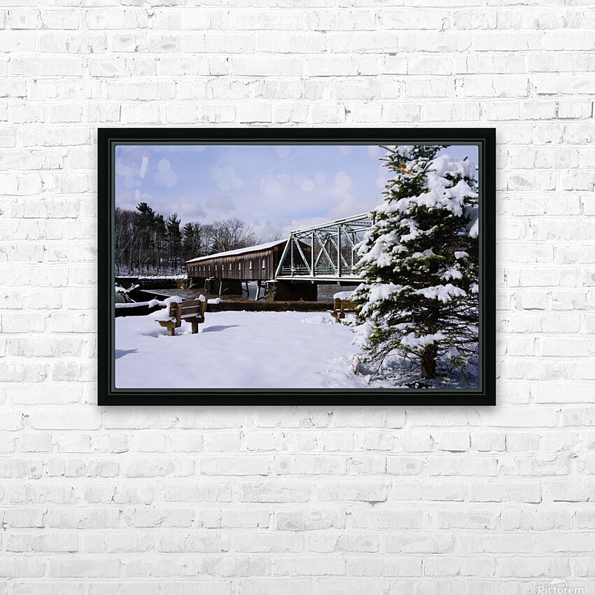 Harpersfield Ohio covered bridge winter and snow HD Sublimation Metal print with Decorating Float Frame (BOX)