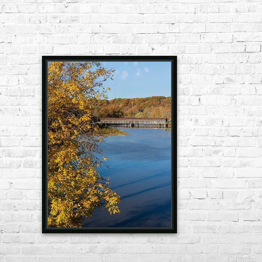 Harpersfield Ohio covered bridge autumn 2020 HD Sublimation Metal print with Decorating Float Frame (BOX)