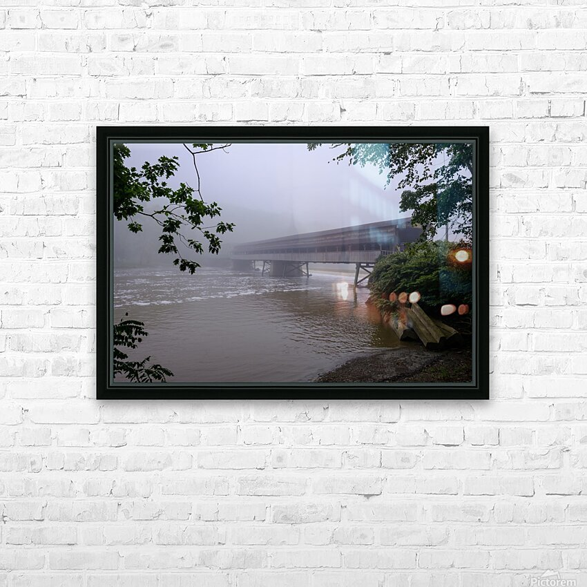 Harpersfield Ohio covered bridge in fog HD Sublimation Metal print with Decorating Float Frame (BOX)