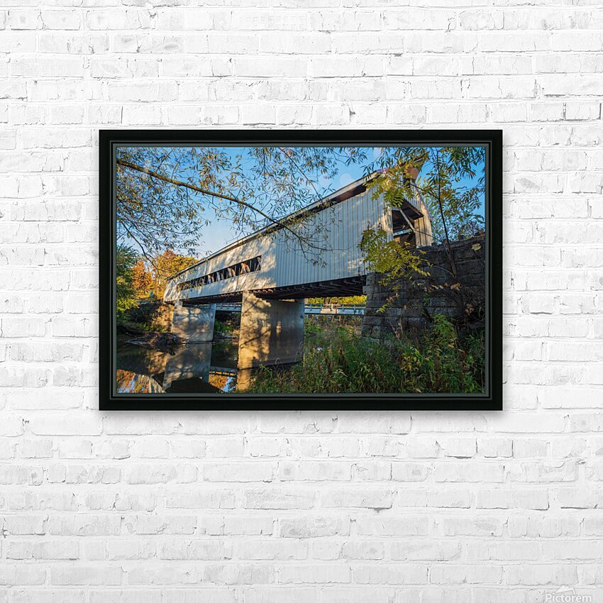 Mechanicsville covered bridge over Grand River Ohio HD Sublimation Metal print with Decorating Float Frame (BOX)