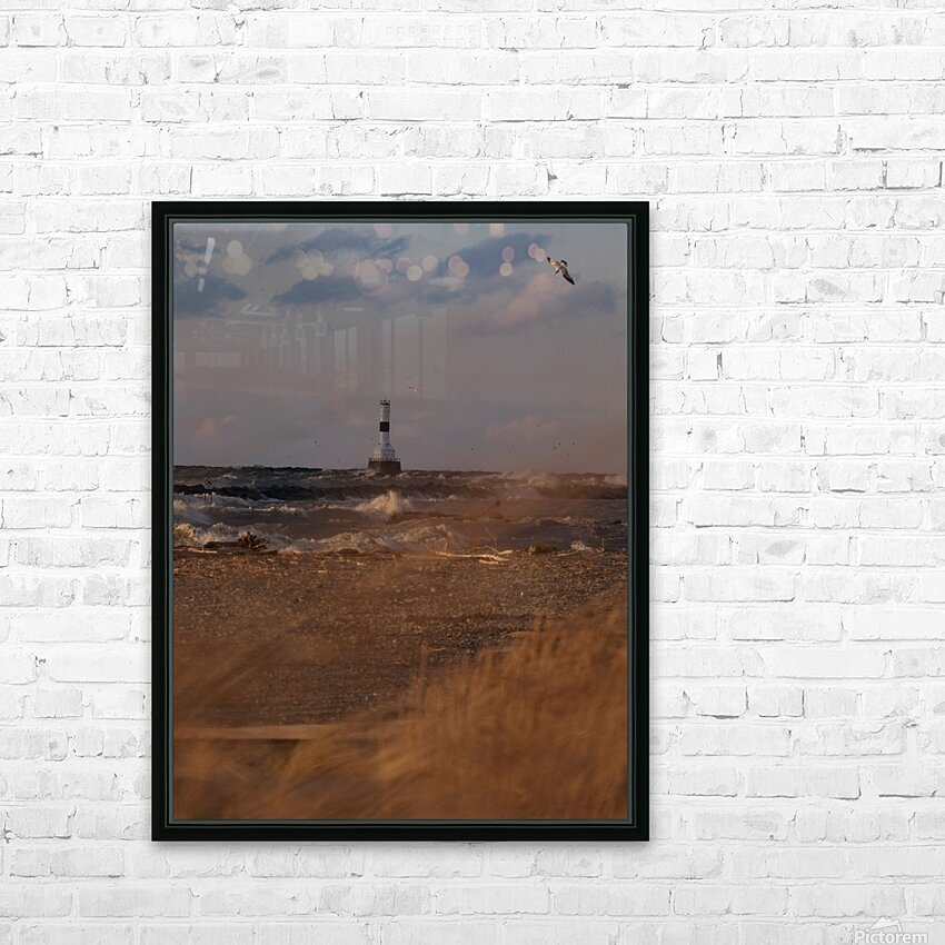Conneaut Ohio lighthouse during storm HD Sublimation Metal print with Decorating Float Frame (BOX)