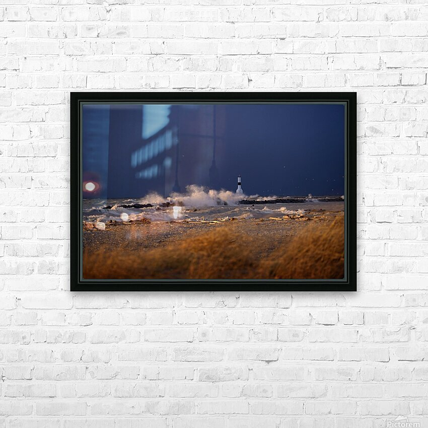 Conneaut lighthouse in storm HD Sublimation Metal print with Decorating Float Frame (BOX)