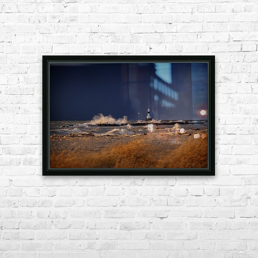 Lighthouse at Conneaut Ohio on Lake Erie during storm HD Sublimation Metal print with Decorating Float Frame (BOX)