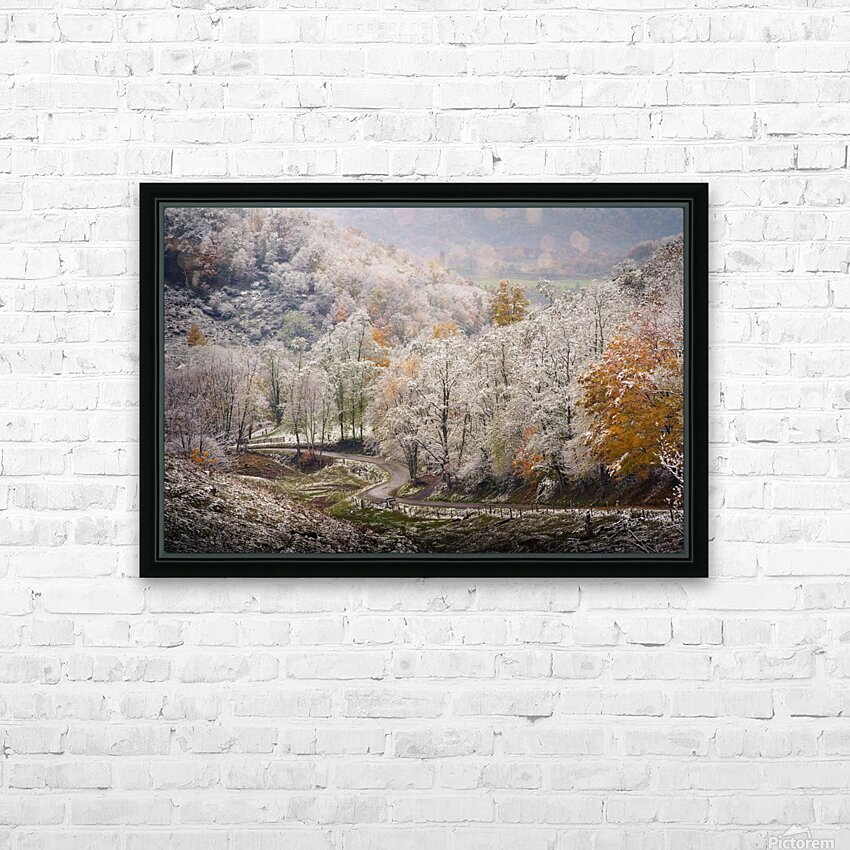 Autumn snow on Back Hollow Road Tucker County West Virginia HD Sublimation Metal print with Decorating Float Frame (BOX)