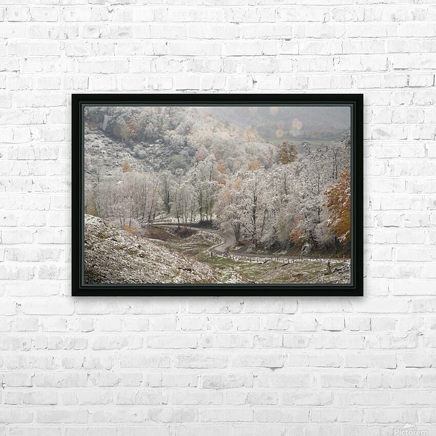 Back Hollow Road Tucker County WV autumn snow HD Sublimation Metal print with Decorating Float Frame (BOX)