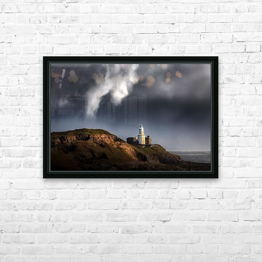 Mumbles lighthouse in the rain HD Sublimation Metal print with Decorating Float Frame (BOX)