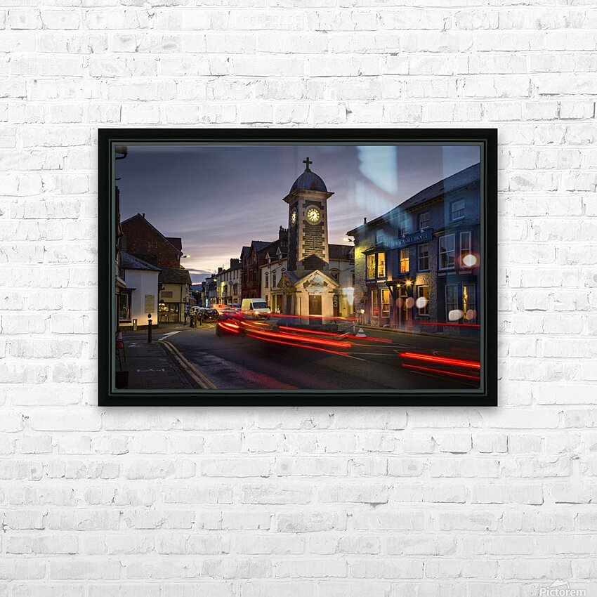 Rhayader town clock tower HD Sublimation Metal print with Decorating Float Frame (BOX)