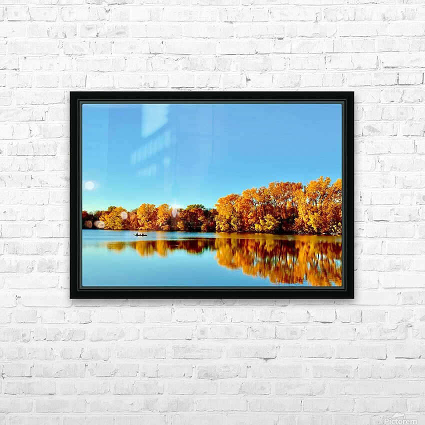 Autumn Canoe HD Sublimation Metal print with Decorating Float Frame (BOX)