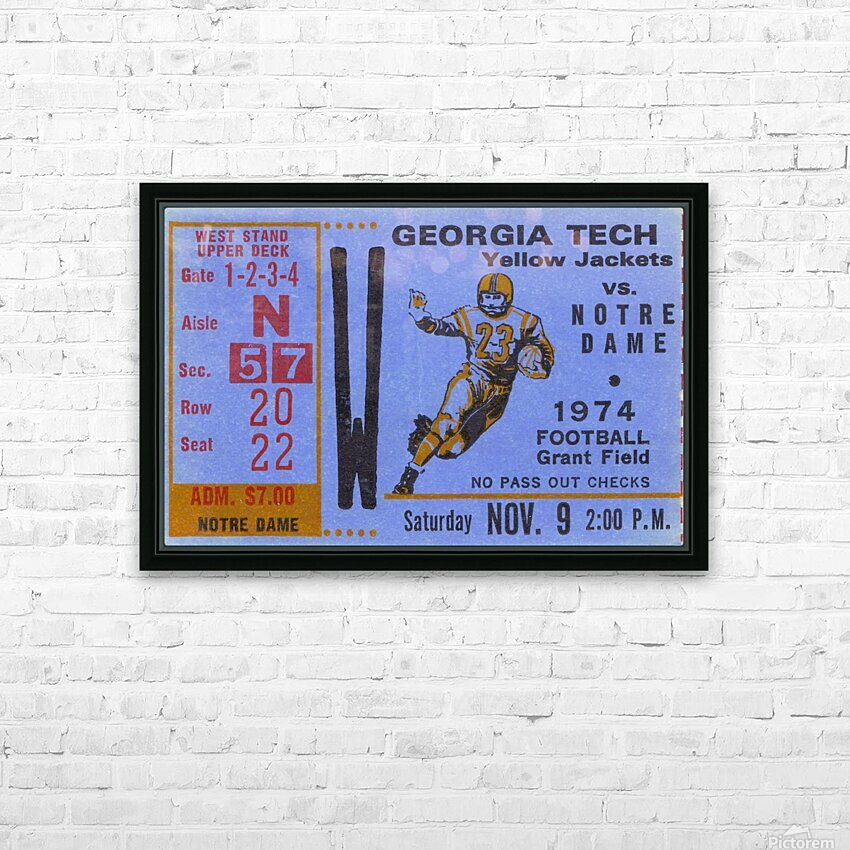 1974 Georgia Tech vs. Notre Dame HD Sublimation Metal print with Decorating Float Frame (BOX)