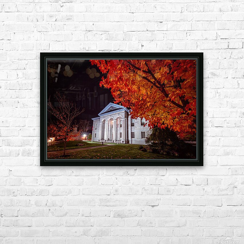 Courthouse Autumn Night HD Sublimation Metal print with Decorating Float Frame (BOX)