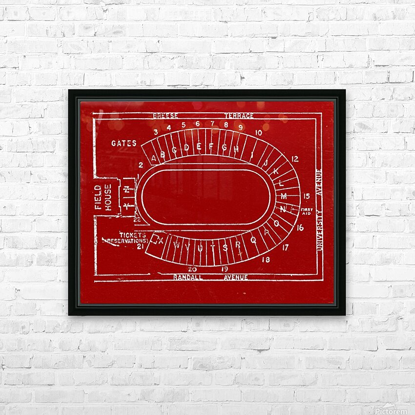1957 camp randall map art HD Sublimation Metal print with Decorating Float Frame (BOX)