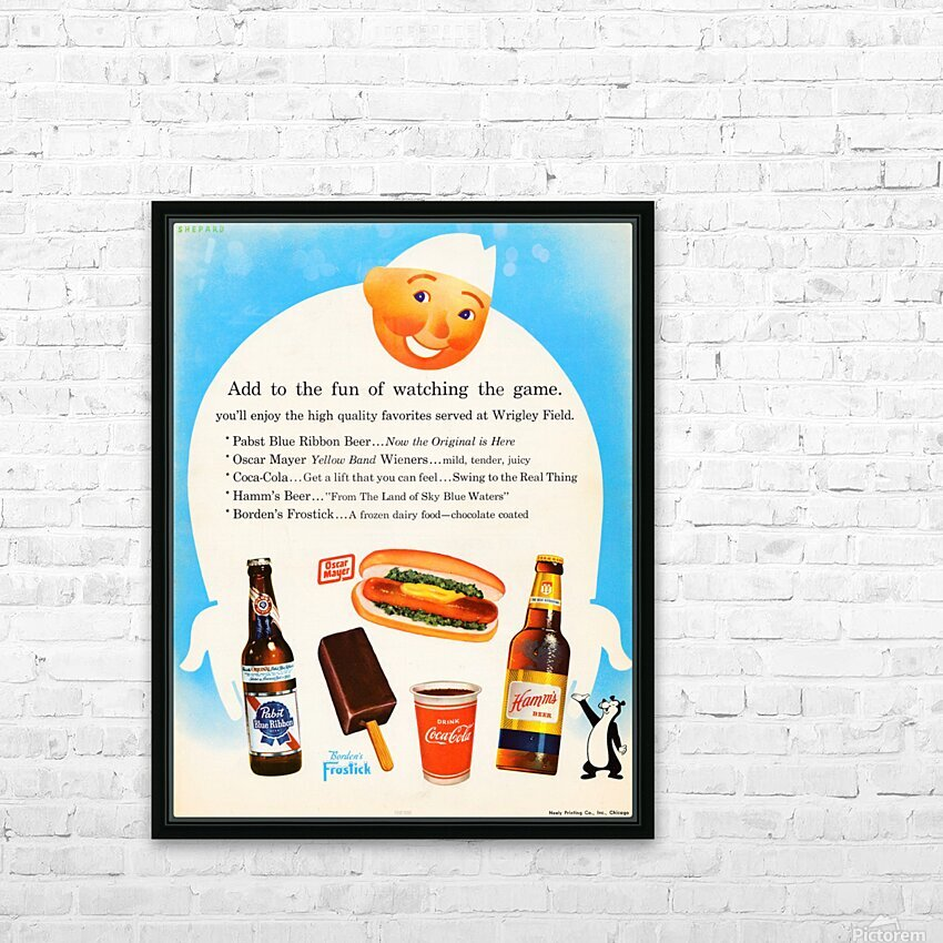 1962 Otis Shepard Concessions Ad HD Sublimation Metal print with Decorating Float Frame (BOX)