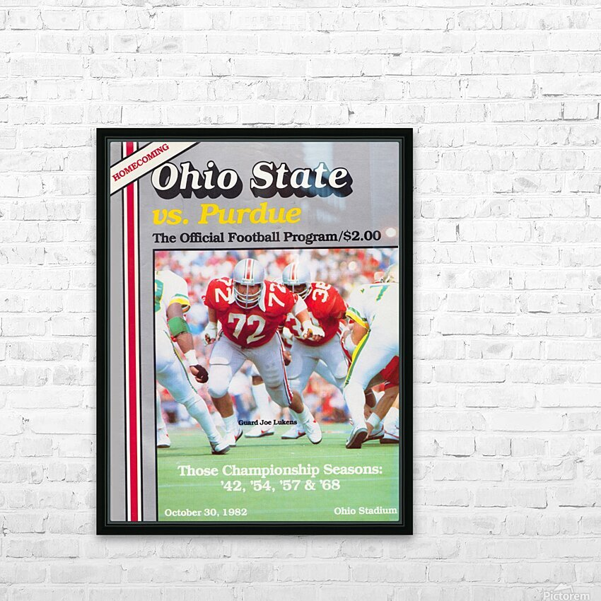 1982 Ohio State vs. Purdue Program Cover Art HD Sublimation Metal print with Decorating Float Frame (BOX)