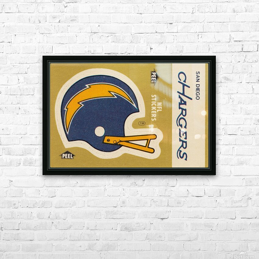 1982 Fleer Sticker San Diego Chargers Art HD Sublimation Metal print with Decorating Float Frame (BOX)