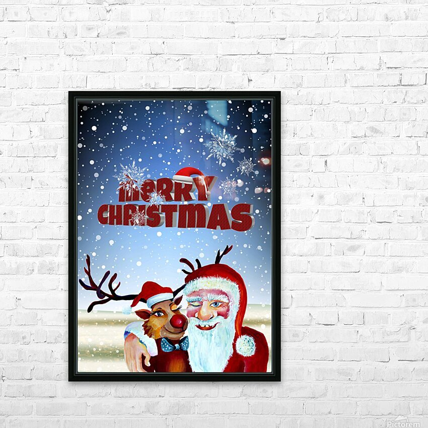 Santa Clause and Rudolph in Magical Winter night HD Sublimation Metal print with Decorating Float Frame (BOX)