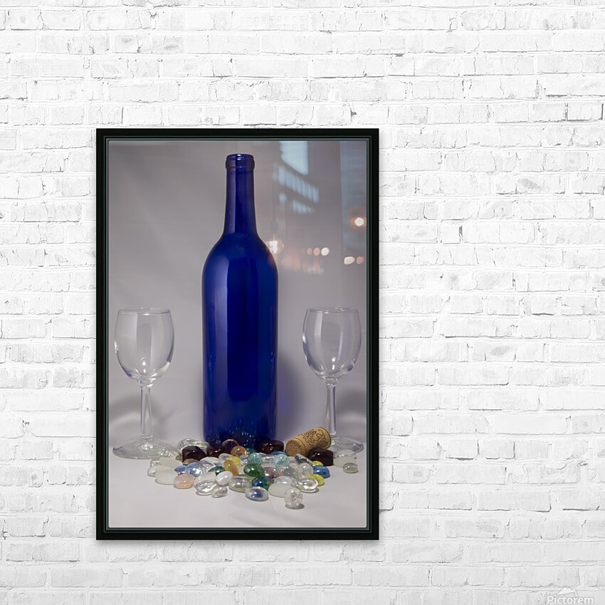 Blue Wine Bottle HD Sublimation Metal print with Decorating Float Frame (BOX)