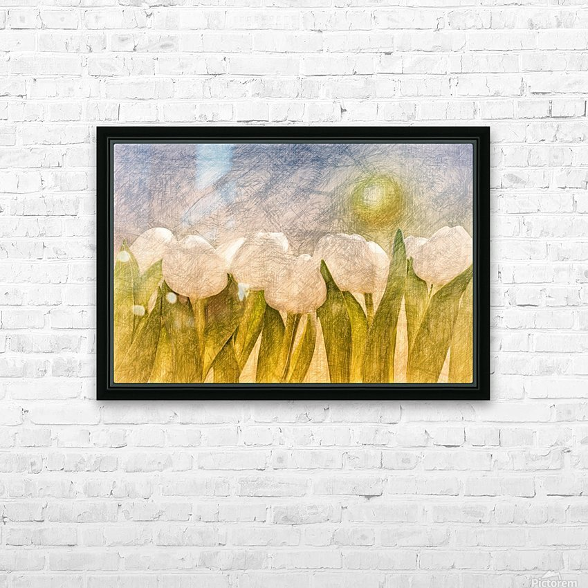 white Tulips  HD Sublimation Metal print with Decorating Float Frame (BOX)