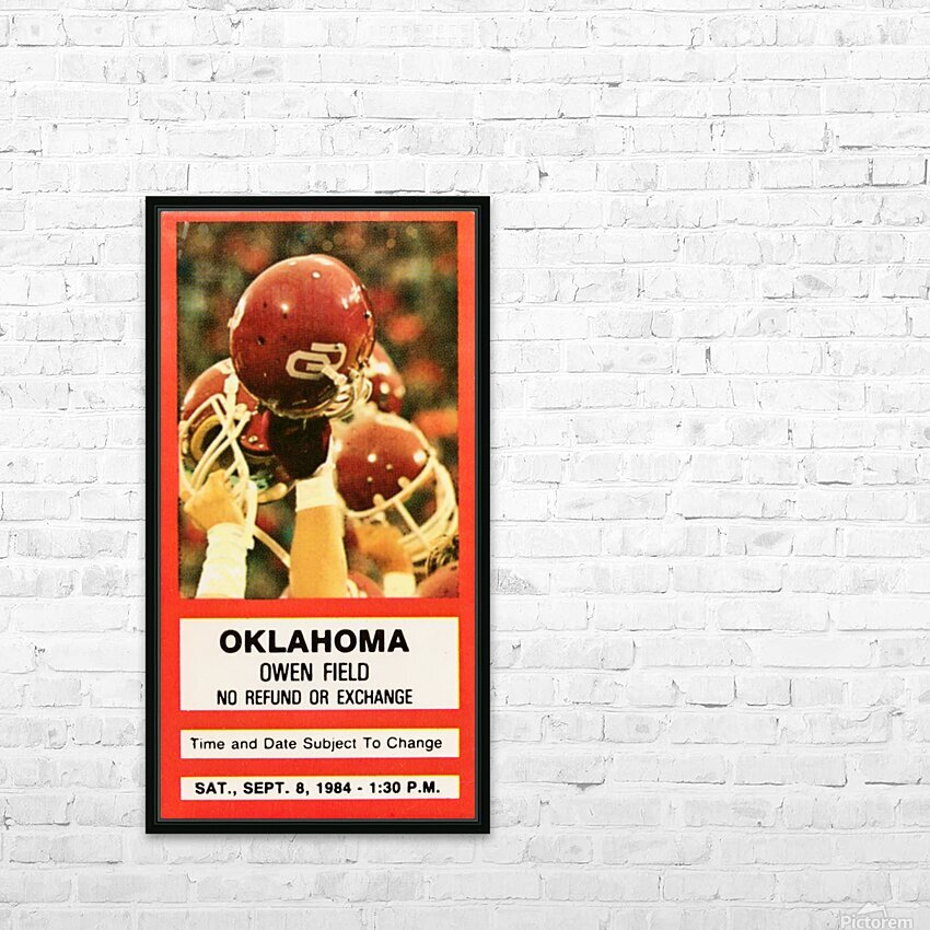 1984 Oklahoma Sooners Football Ticket Wall Art HD Sublimation Metal print with Decorating Float Frame (BOX)